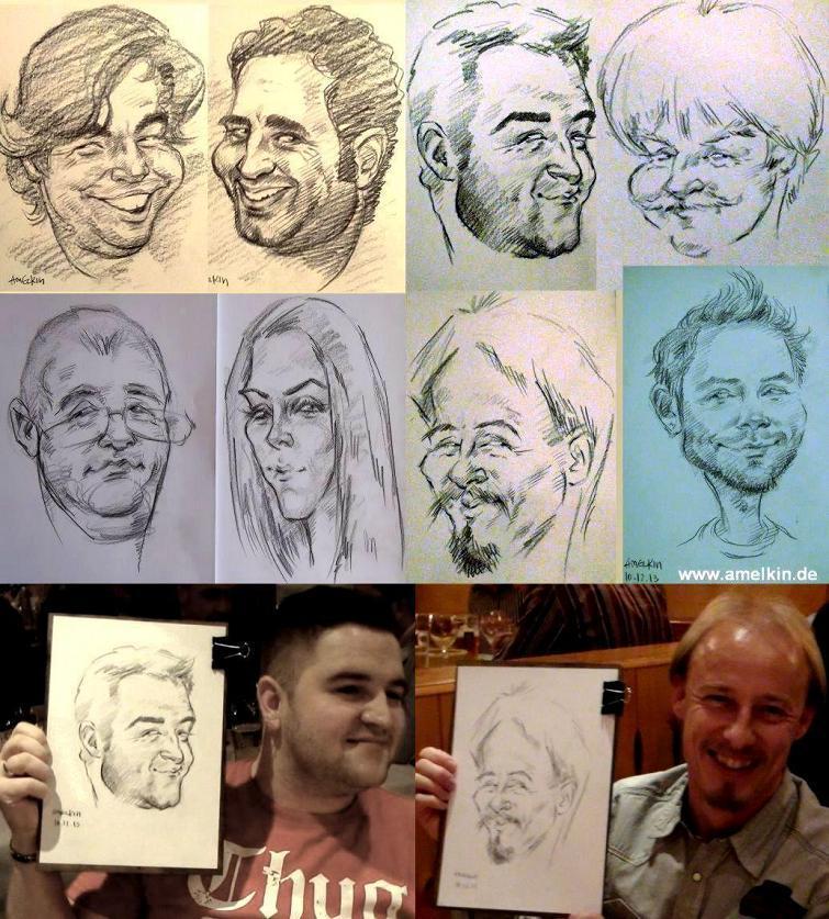 Schnellzeichner, Portraitzeichner, Karikaturzeichner und Liedermacher Amelkin